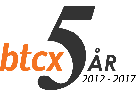 BTCX 5 år jubileum logo
