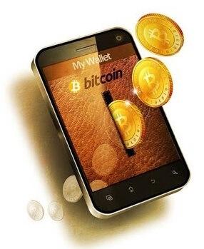 Bitcoin-myntinkast i smartphone